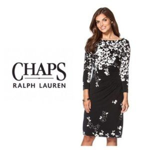 Chaps Womens Black White Floral Dress Sz XS NWT